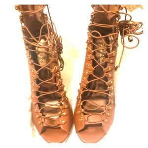 Brown Lace Up Peep Toe Heels